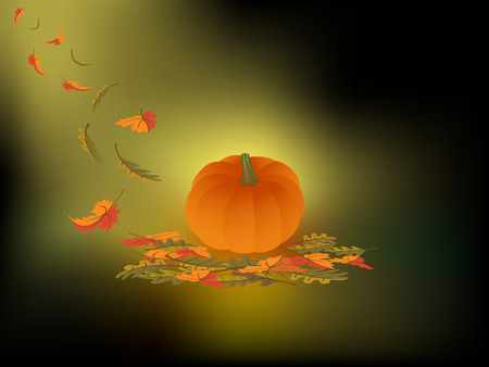 illustration of a pumpkin and falling autumn leaves on a dark abstract background  with a soft shining of light