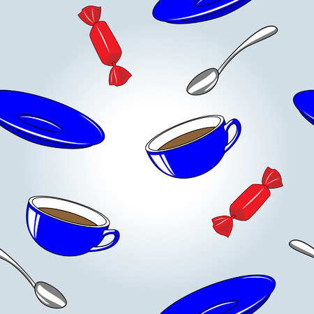 Seamless pattern of cups, saucers, spoons and sweets Illustration