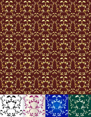 Elegant seamless pattern of different floral vignettes