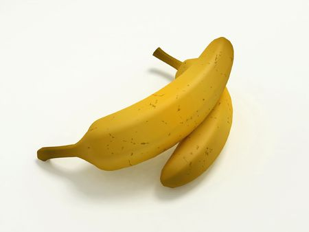 Two ripe bananas isolated on a white background