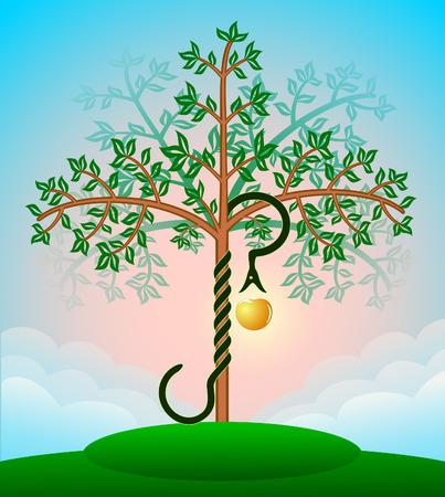eden: Farbige Bibel Baum des Wissens mit der Schlange und einen Apfel Illustration