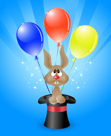 Vector illustration of amusing  rabbit in a magicians top hat and bright colored balloons