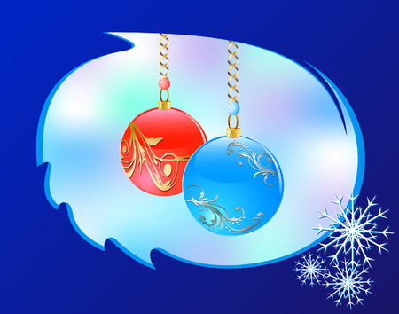 Christmas background with glass balls and snowflakes