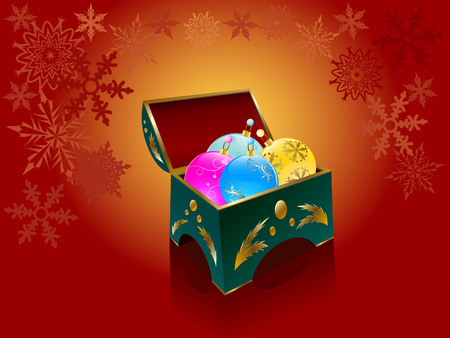 Elegant box with christmas  balls on a background of snowflakes