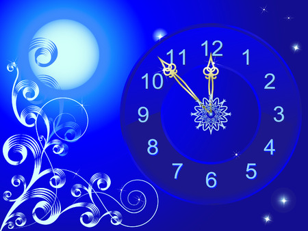 Clock with golden arrows on a background of the full moon and stars Illustration