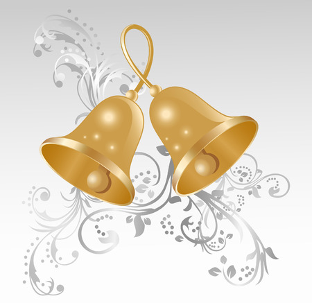 handbell: Two gold handbells on a background of elegant vignettes
