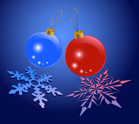 Christmas background of glowing sparkling balls and snowflakes Illustration