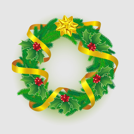 Christmas wreath  decorated gold ribbon, bow and hollyberry Illustration