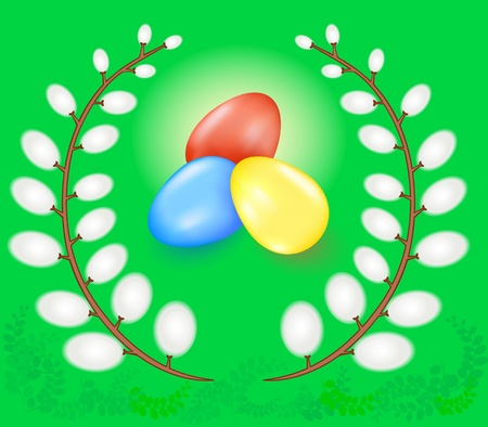 Easter eggs, twigs of a willow on a green background Illustration