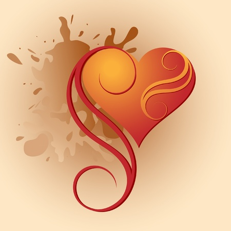 Valentines Day heart with vignettes on a background of blots Illustration