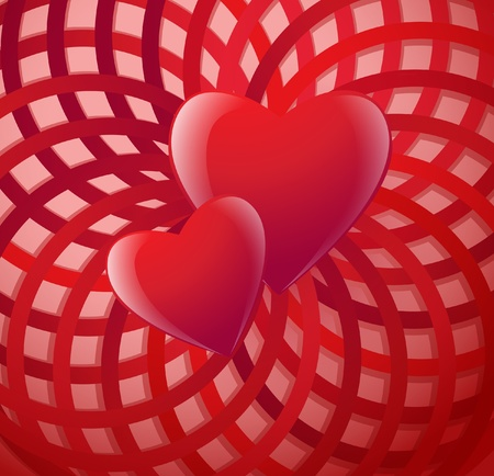 Two Valentines day hearts on a circular background Illustration