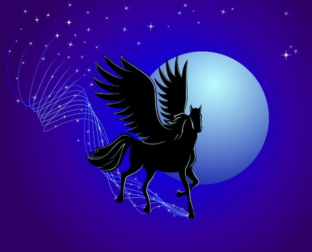 Flying Pegasus on a background of the moon and stars
