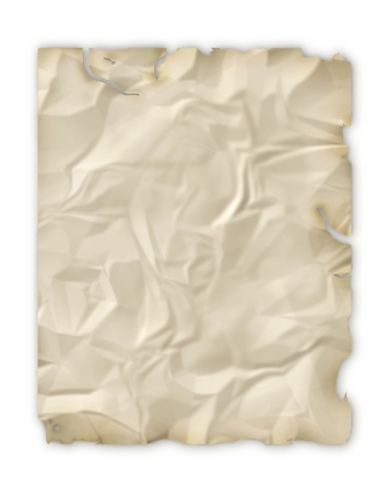 Wrinkled paper with torn and burnt edges Stock Photo