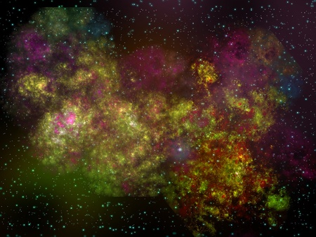 Space landscape with a galaxy and nebula