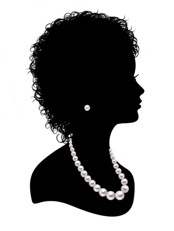 face silhouette: Silhouette of  girl with a pearl necklace