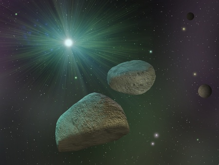 Space landscape with asteroids and star