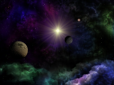 Space fantasy of planet, star and clouds photo