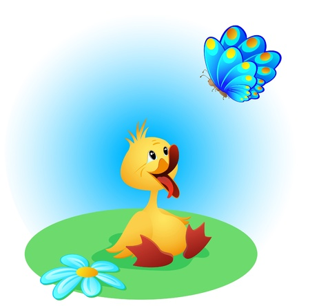 Cute duckling with open beak and a  beautiful  butterfly Illustration