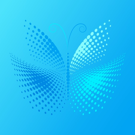 Blue butterfly made from halftone
