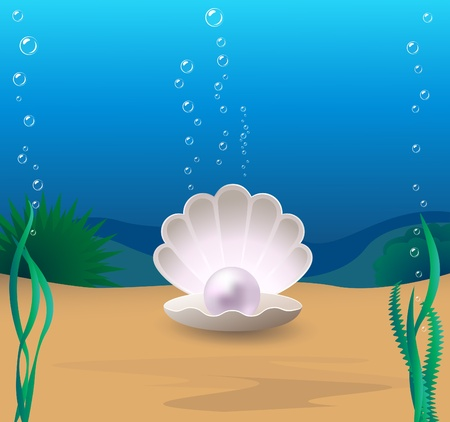 Marine cockleshell with a pearl on a sea-bottom Stock Illustratie