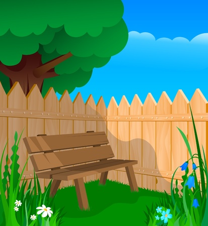 Bench, flowers and a wooden fence in the shade of a tree Vector