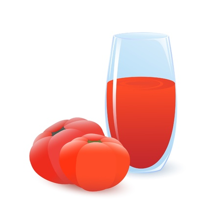 Two ripe tomatoes and glass of tomato juice