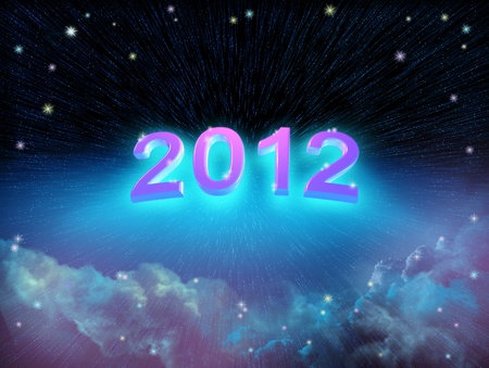 New year background of space and colorful clouds with stars Stock Photo