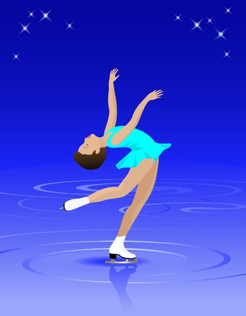 Vector Illustration of a graceful female figure skater on ice.