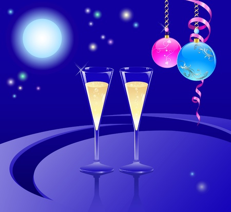 Glasses with a champagne and New Year Illustration