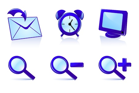 Set of vector icons in blue colors
