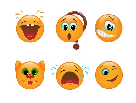 Set of various vector emoticons