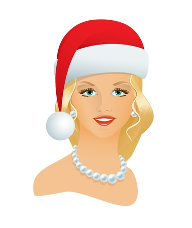 The pretty girl in a Santa hat and a pearl necklace Vector