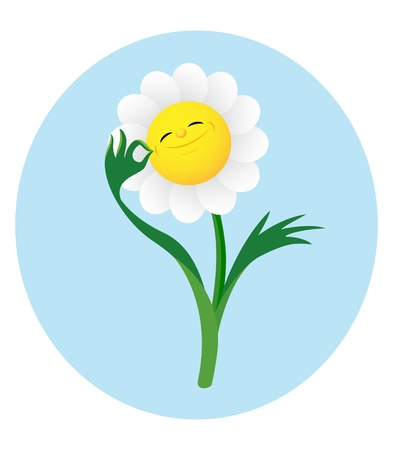Smiling cute flower showing gesture �� Stock Vector - 13090935