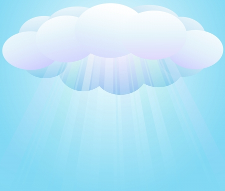 Cartoon illustration of sunbeams passing through clouds. You can change background. Stock Vector - 13614583