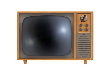 Realistic old TV in a wooden frame isolated on white