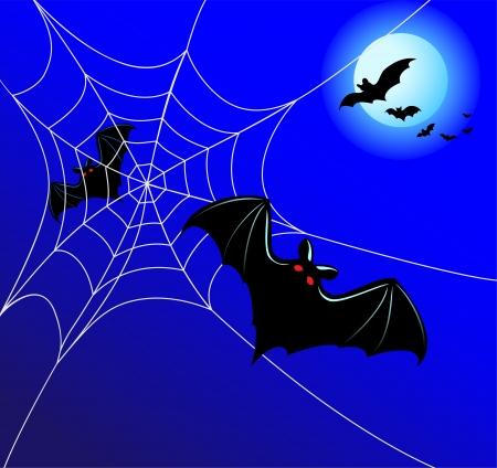 Bats and a web on a background of the moon in Halloween night