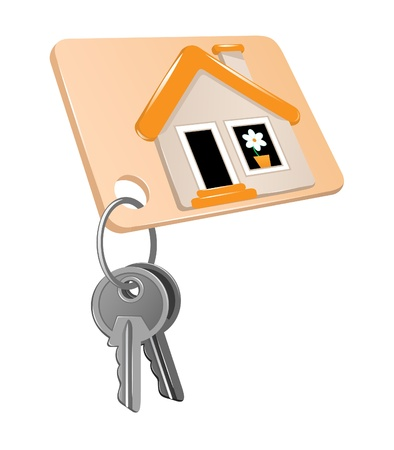 Two metal keys on a ring and a label of house  Vector