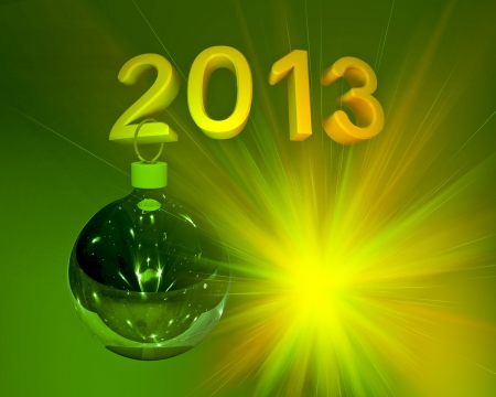 Green Christmas ball hanging on figures 2013 Stock Photo - 15846870