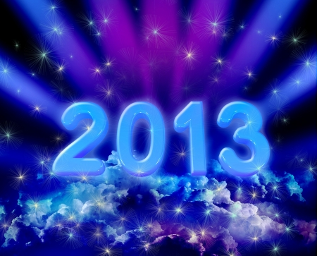 vibrance: New year background of space and colorful clouds with stars Stock Photo