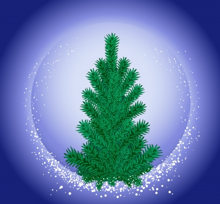 Christmas fir-tree and falling snow on a background of the night sky. Vector