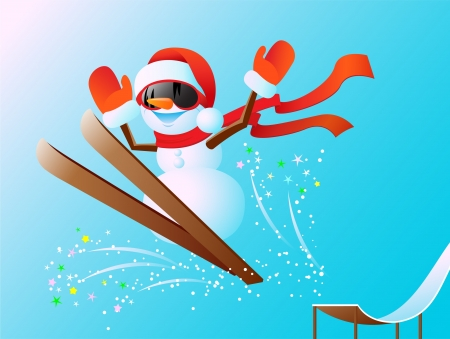 Nice snowman jumps from a springboard on skis Vector