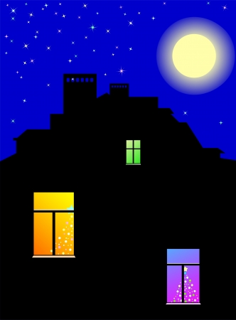 The moon in Christmas night above a roof of the house with bright windows