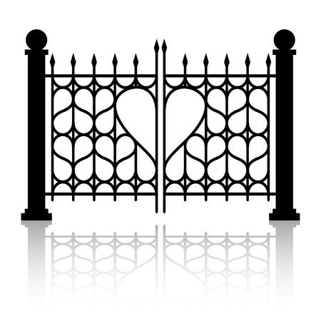 puertas de hierro: Puerta forjada con un adorno en forma de coraz�n Vectores