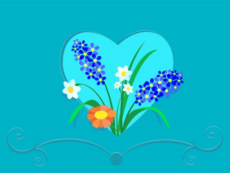 Beautiful field flowers in a frame in the form of heart Stock Vector - 17102705