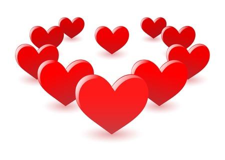 corazones del amor dispuestas en la forma de corazón