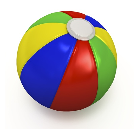 Multi-colored beach ball isolated on white. Stock Photo