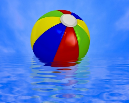 Multi-colored beach ball on a water Stock Photo