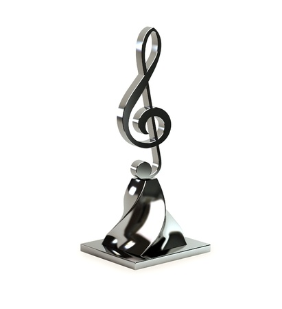 3d treble clef from bright metal on an original support. photo