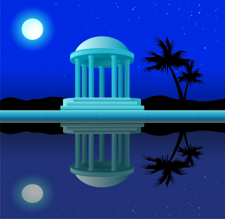 Antique rotunda in beams of the full moon with reflection in water Vector