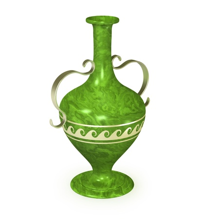 figured: Antique malachite vase with a metal ornament and figured handles